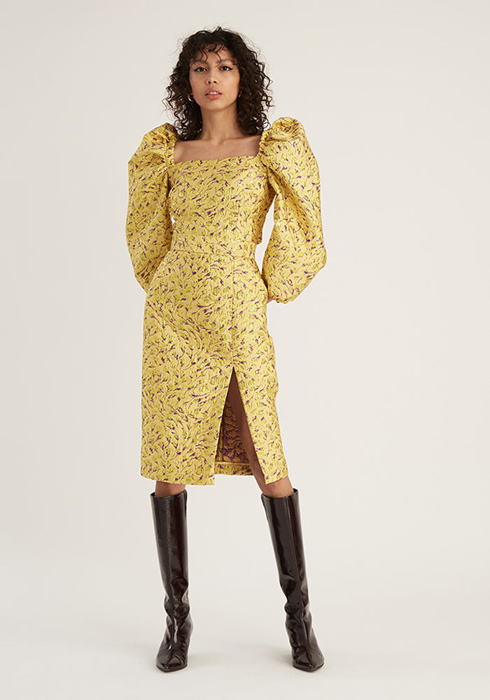 Jacquard Pencil Skirt, Yellow (4528090710100)