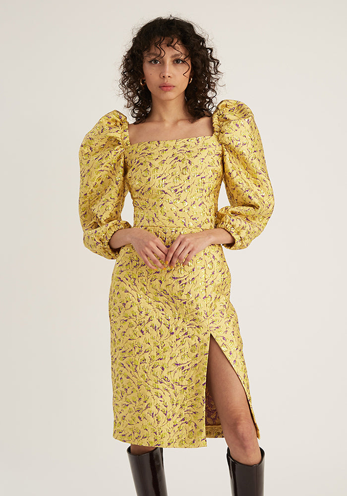 Jacquard Puffy Top, Yellow (4528089202772)