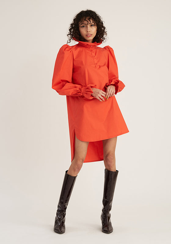 Ruffle Shirt Tunic, Light Red (4489561997396)