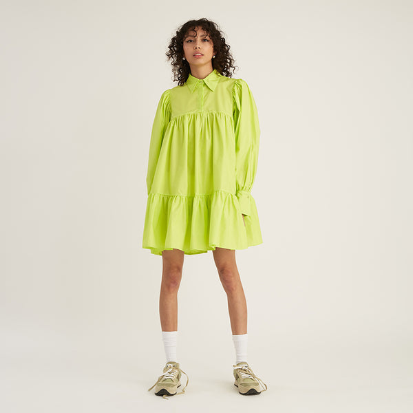 Long Sleeve Puff Shirt Dress, Lime Green (4533569388628)