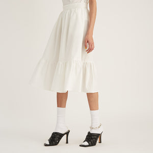 Midi Ruffle Skirt, White (4528116072532)