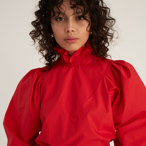 Smock Ruffle Blouse, Red (4533573419092)