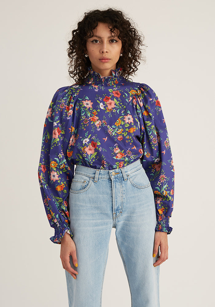 Smock Ruffle Floral Blouse, Lilac (4489442263124)