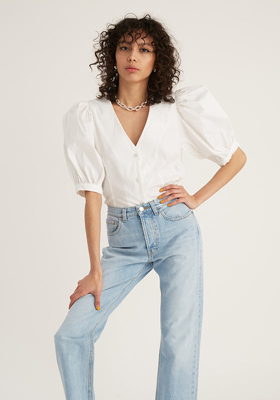 Puff V- Neck Shirt, White (4528100737108)