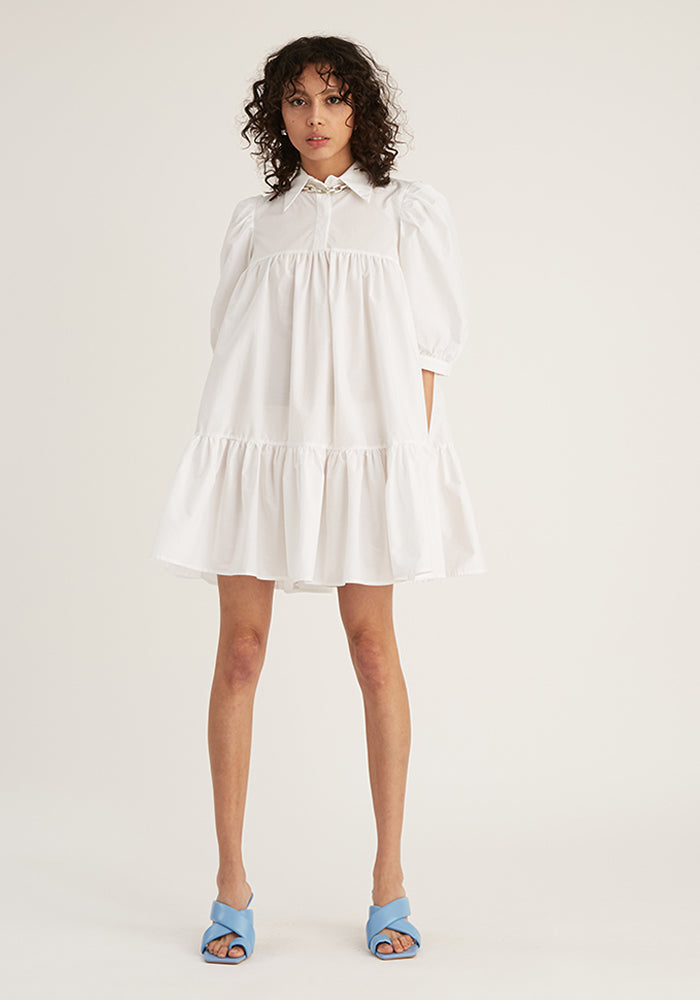 Short Sleeve Puff Shirt Dress, White (4489567699028)