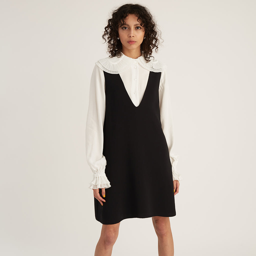 V-Neck Dress, Black (4528068427860)
