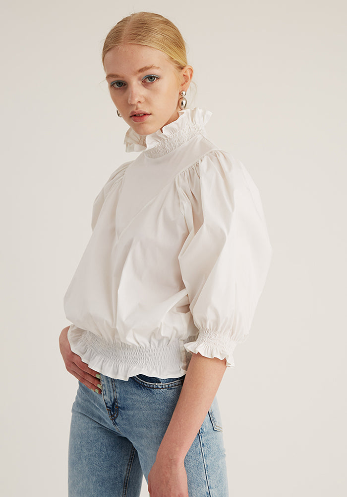 Smock Ruffle Top, White