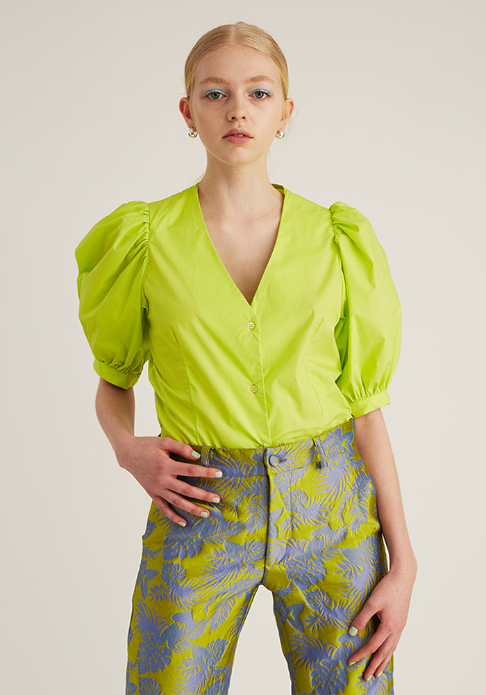 Puff V- Neck Shirt, Green (4528103686228)