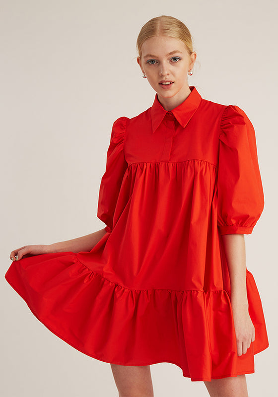 Short Sleeve Puff Shirt Dress, Light Red (4489569960020)