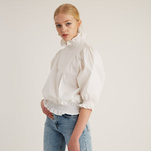 Smock Ruffle Top, White (4528111059028)