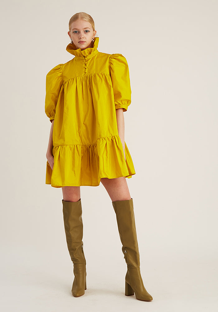 Mini Ruffle Dress Short Sleeve, Yellow (4528221159508)