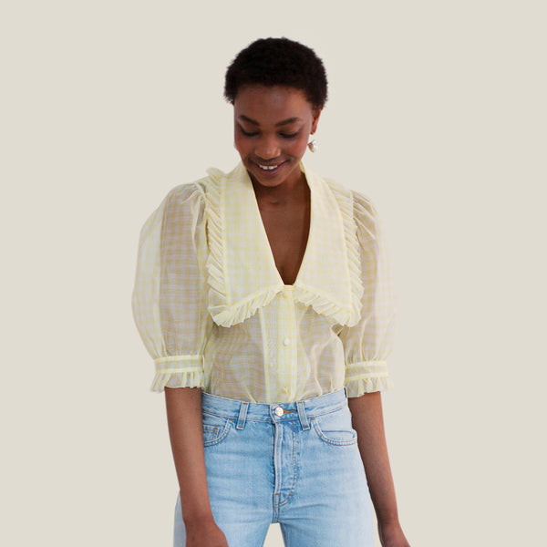 Sheer V-Neck Blouse, Yellow