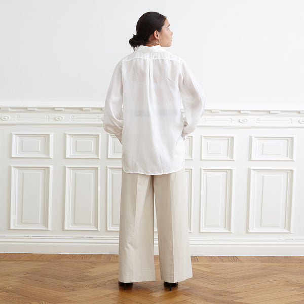High Cuff Shirt, White Habutai