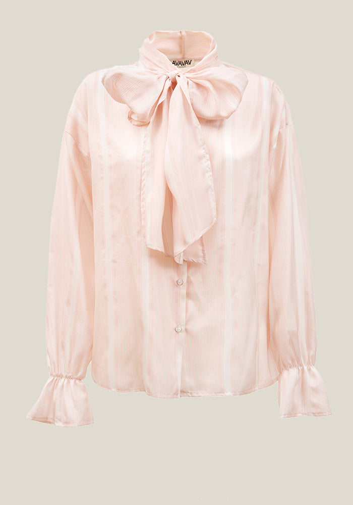 Silk Bow Blouse, Wide Stripes
