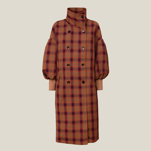 Checked Coat, Beige