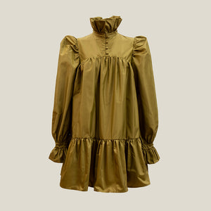 Mini Ruffle Dress, Olive Green