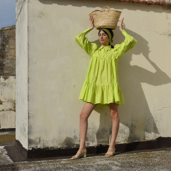 Puff Shirt Dress, Lime Green