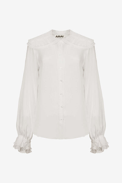 Plissé Collar Blouse, White