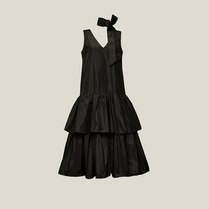 Long V-Neck Dress, Black (4199759282260)