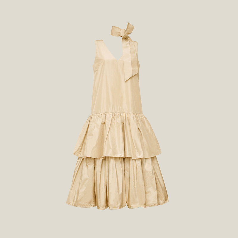Long V-Neck Dress, Beige - AVAVAV-Long V-Neck Dress, Beige (4199757709396)