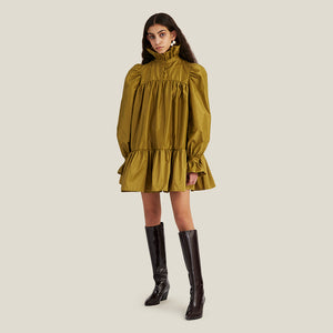 Mini Ruffle Dress, Olive Green (4446539874388)