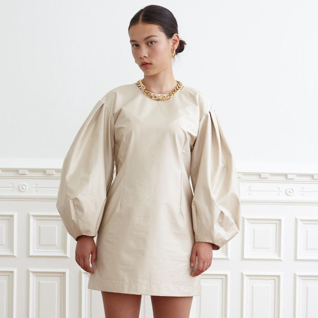 Wide Sleeve Dress, Beige