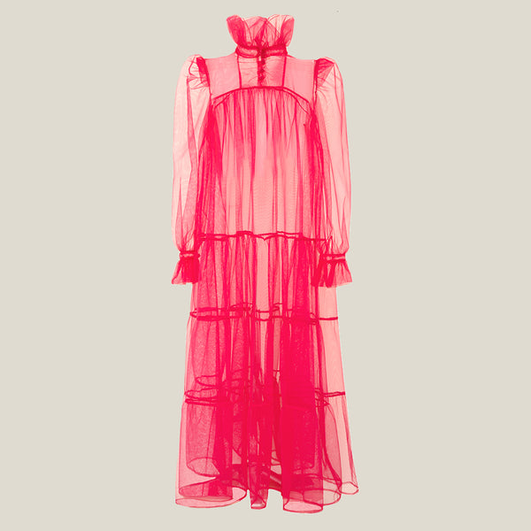 Long Ruffle Dress, Pink Tulle