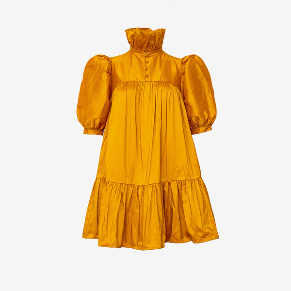 Mini Ruffle Dress Short Sleeve, Orange - AVAVAV-Mini Ruffle Dress Short Sleeve, Orange (4343880810580)