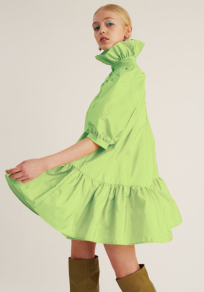 Mini Ruffle Dress Short Sleeve, Neon Mint