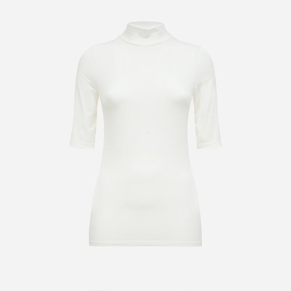 Short Sleeve Turtleneck in Off-white - AVAVAV-Short Sleeve Turtleneck in Off-white