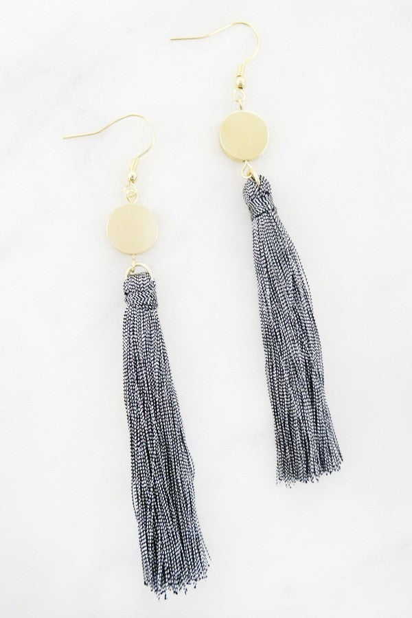 Metallic Grey Tassel Earrings