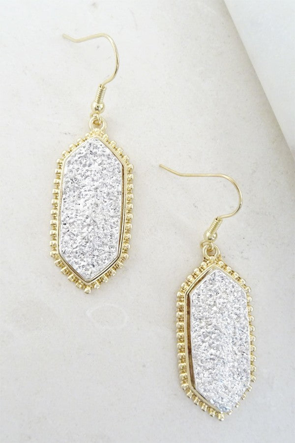 Bria Bella & Co - Metallic Hexagon Earrings
