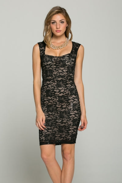 Lace Bodycon Sleeveless Dress
