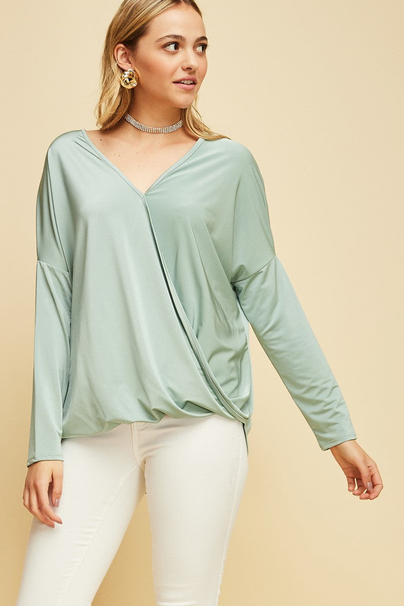 Sage Surplice Top