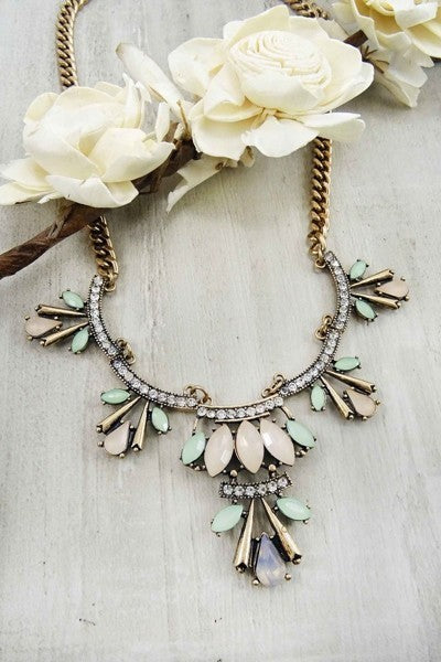 Bria Bella & Co - Peach & Mint Statement Necklace