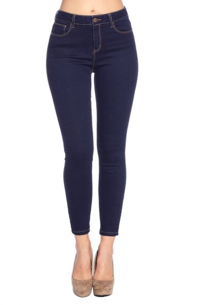 Mid-Rise Skinny Dark Wash Denim