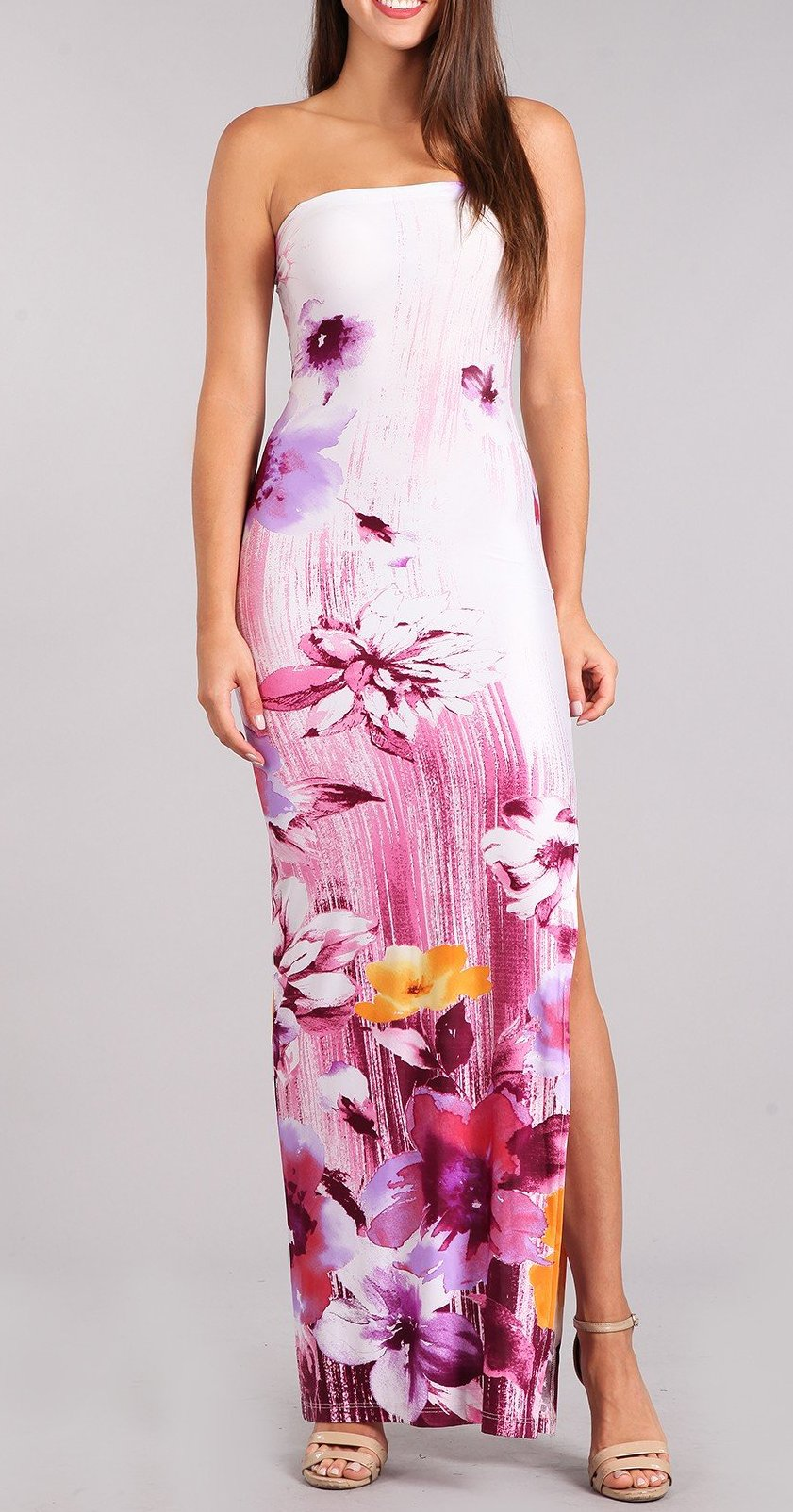 Painted Stay-Cation Strapless Dress