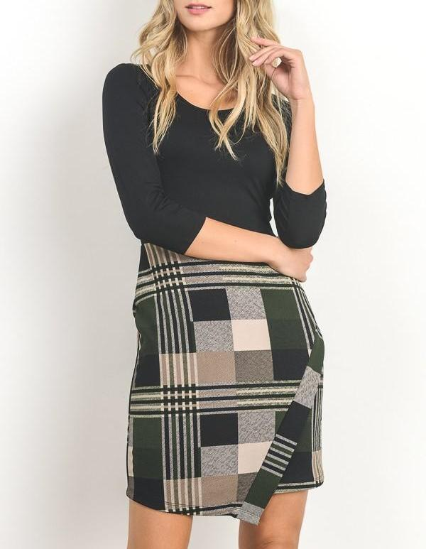 Fitted Plaid Skirt Dress