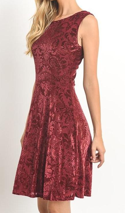 Bria Bella & Co - Burgundy Sleeveless A-Line Dress