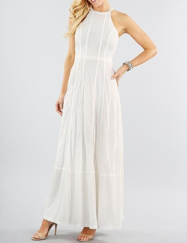 White Lace Halter Maxi Dress