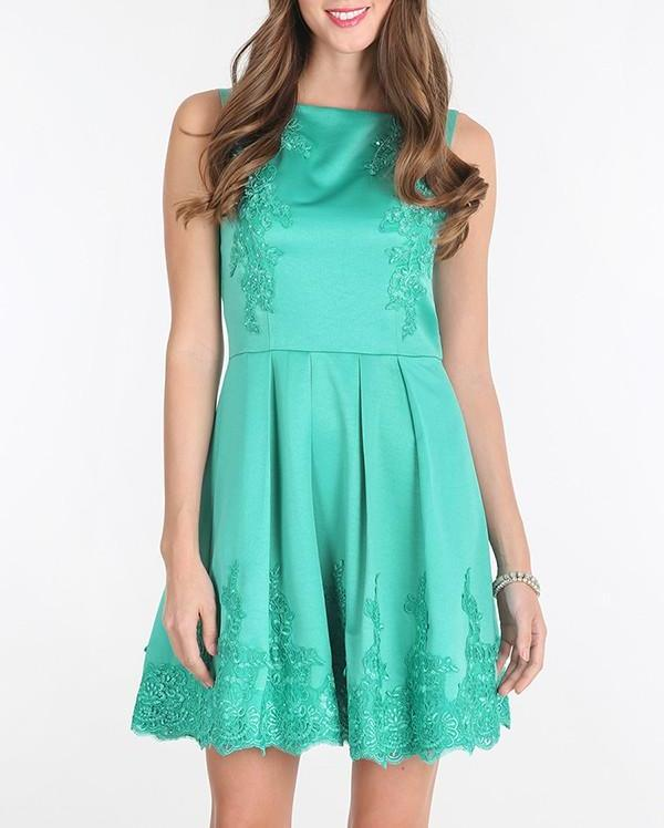 Bria Bella & Co - Embroidered Fit n Flare Dress