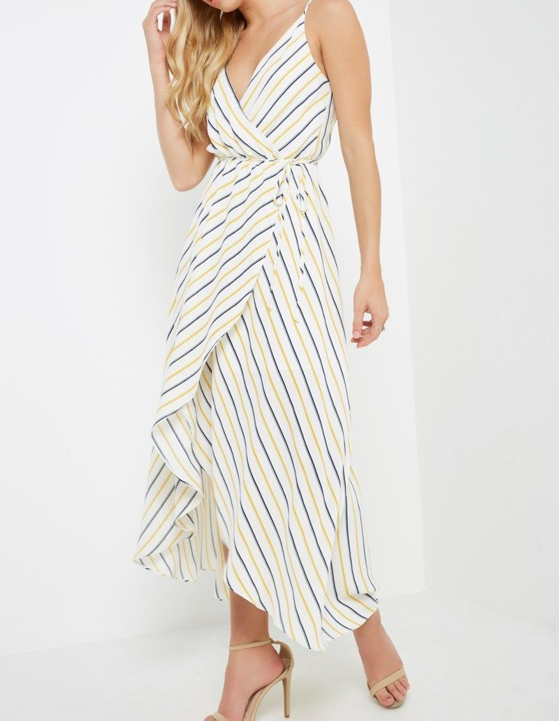 Navy & Mustard Striped Dress