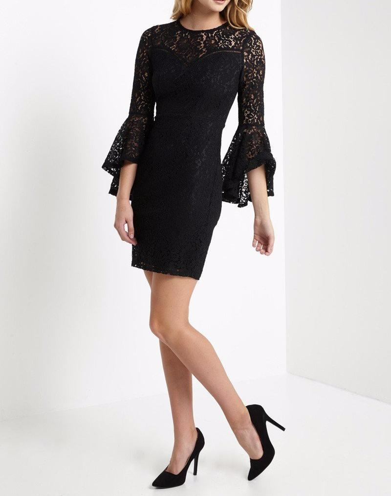 Bria Bella & Co - Black Lace Bell Sleeve Dress