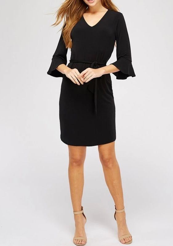 Bria Bella & Co - Classic Bell-Sleeve Shift Dress