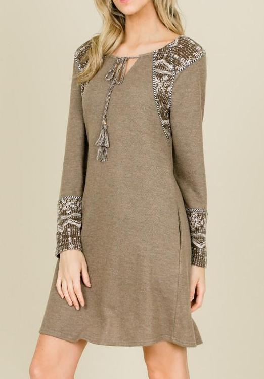 Mocha Snowflake Sweater Dress