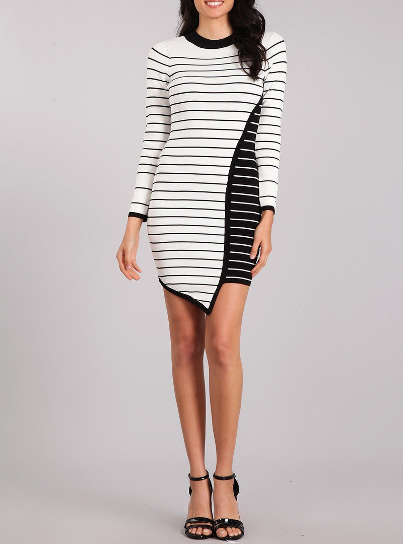Bria Bella & Co - Asymmetrical Striped Sweater Tunic