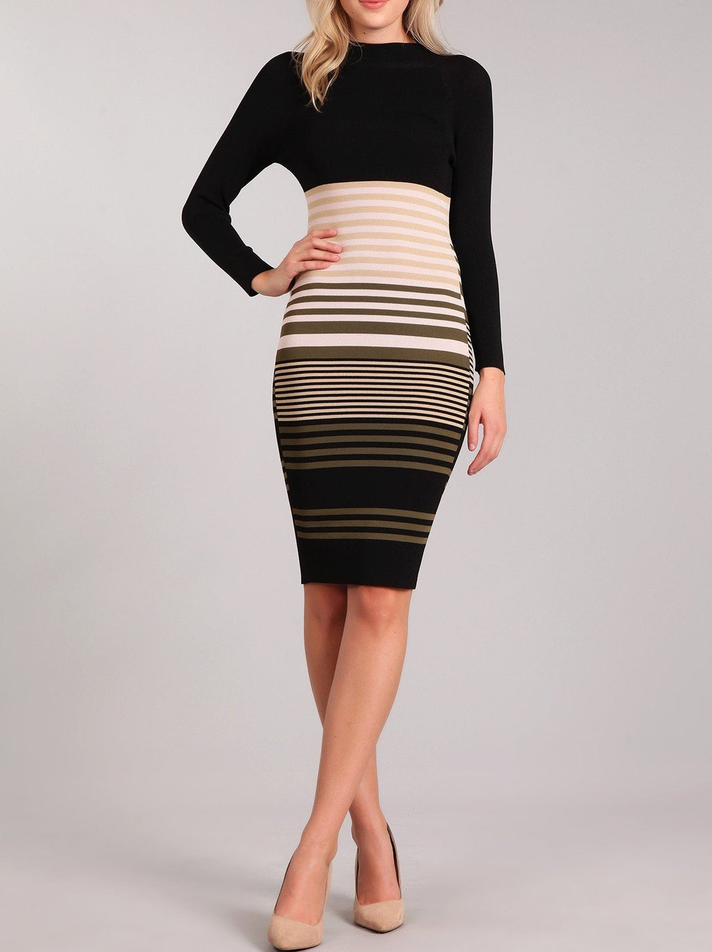 Bria Bella & Co - Chic Stripes Sweater Dress