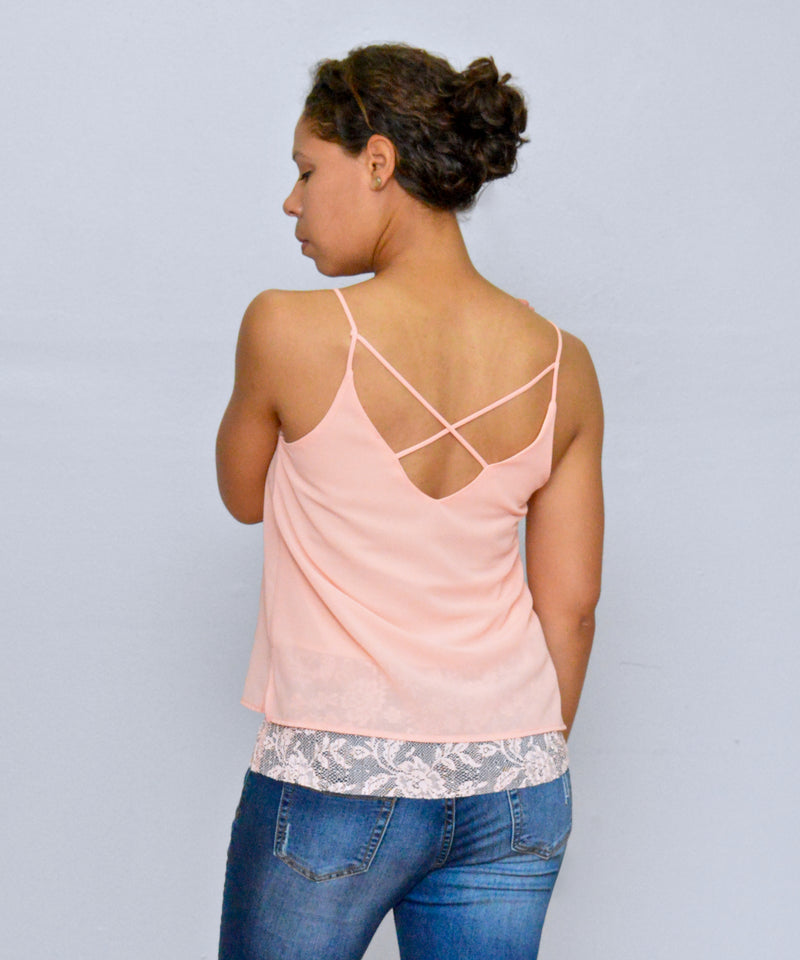 Bria Bella & Co - Blush Chiffon Layered Tank