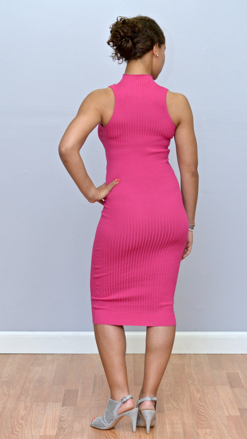 Magenta Ribbed Midi Dress