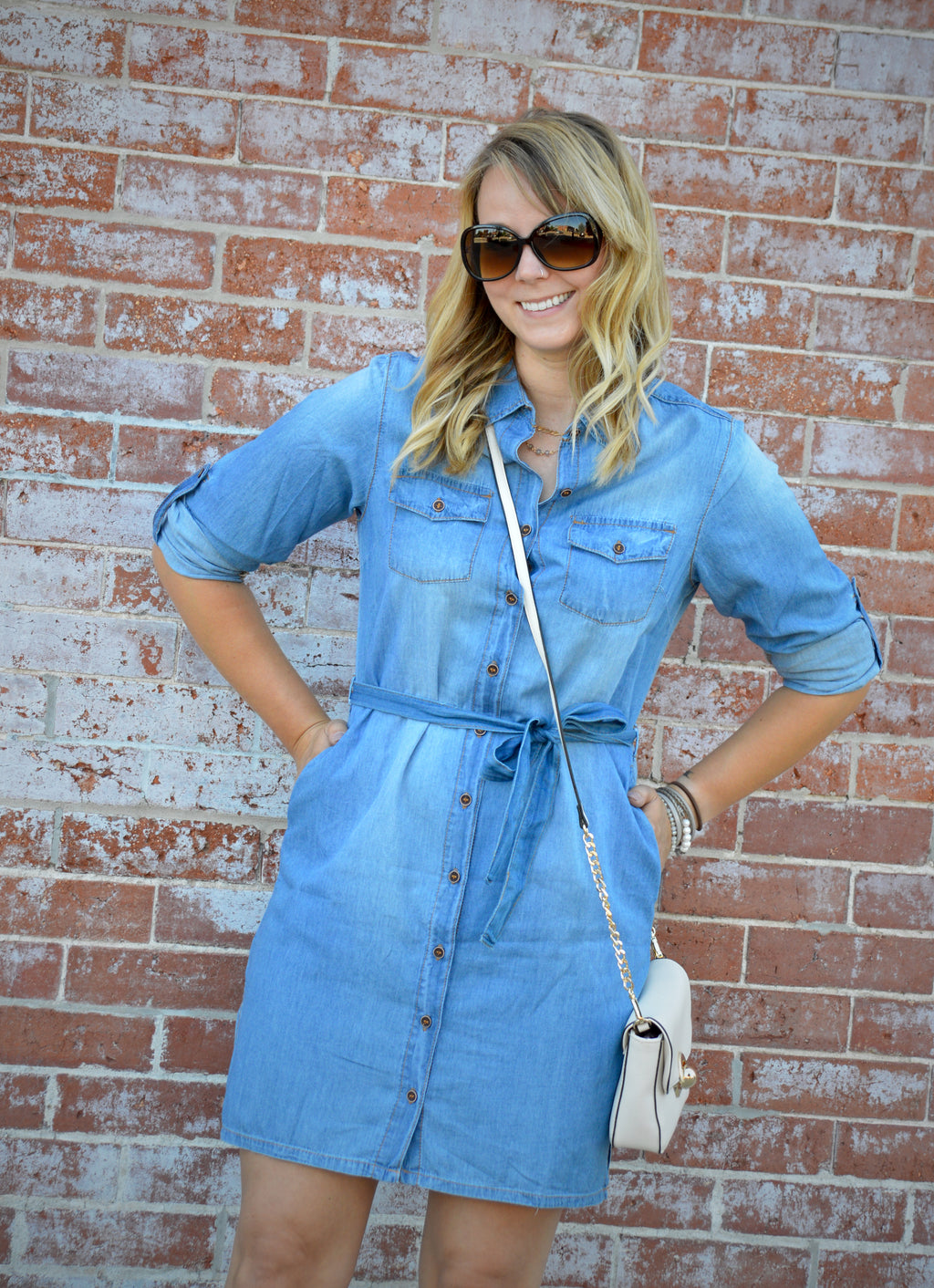 Bria Bella & Co - Belted Denim Shirt Dress